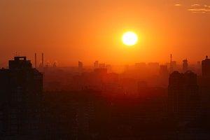 Sunrise over the city.