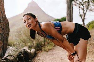 Runner taking break after workout
