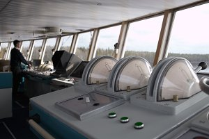 Navigational officer driving ship