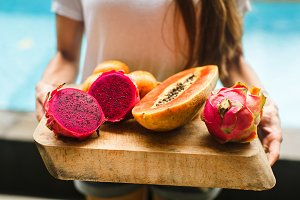 wooden tray of exotic fruits