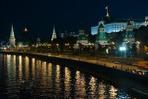 Moscow Kremlin at night.