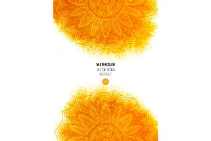 Orange watercolor brush wash with pattern - round doodle tribal elements.