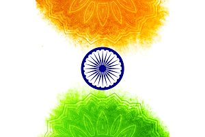 Creative Indian Independence Day concept with ashoka wheel and pattern in national flag tricolors.