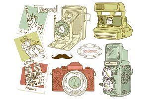 Vintage Camera digital clip art set