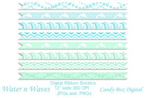 Water 'n' Waves Ribbon Borders