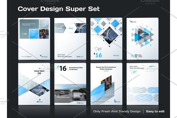 Abstract vector business template set. Brochure layout, cover mo