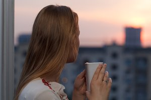 Girl drinking tea