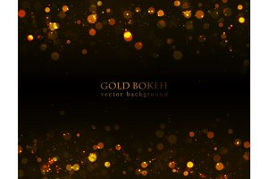 Magic sparkle, gold dots on dark background. Vector bokeh effect.