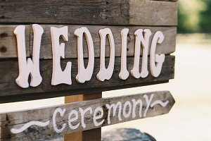 White letters 'Wedding ceremony'
