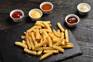Fries and five sauces