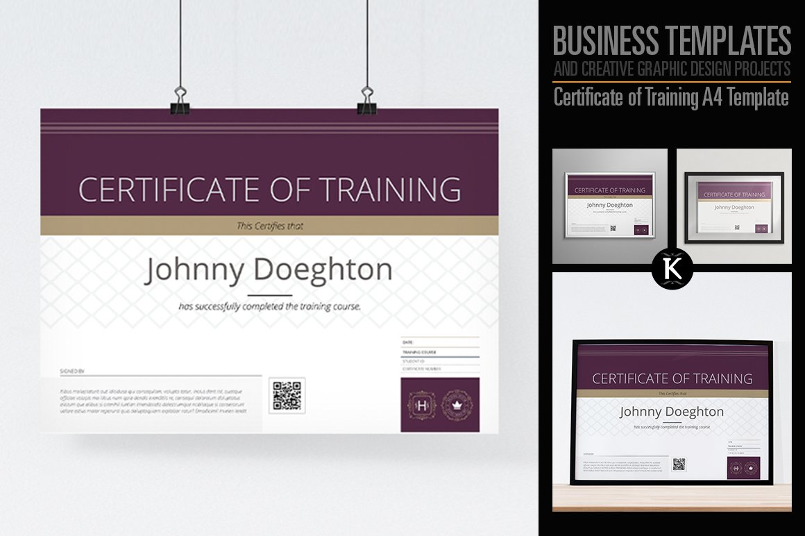 Certificate of training a4 template templates creative market yelopaper Image collections