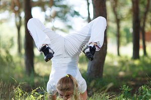 Asana pose in the forest