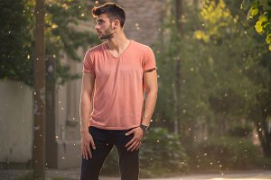 ona young man, outdoors, casual