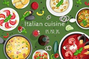 Italian cuisine. Vector collection