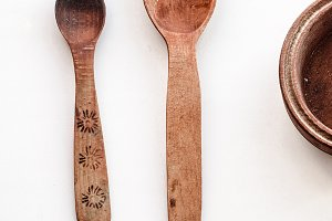 old wooden tableware handmade