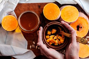 sweet slices of pumpkin and honey