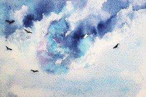 Watercolor sky with birds