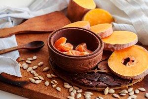 rustic dessert of pumpkin and mandarins