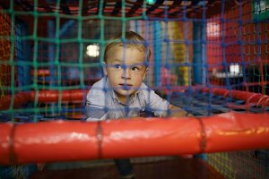 Boy having fun playground