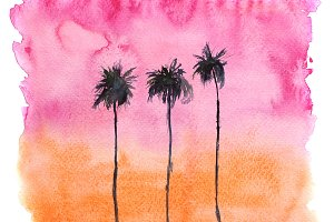 Watercolor sunset with palms