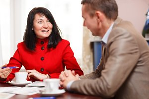Businesswoman meeting with colleague