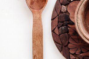 Vintage kitchen utensils made of wood