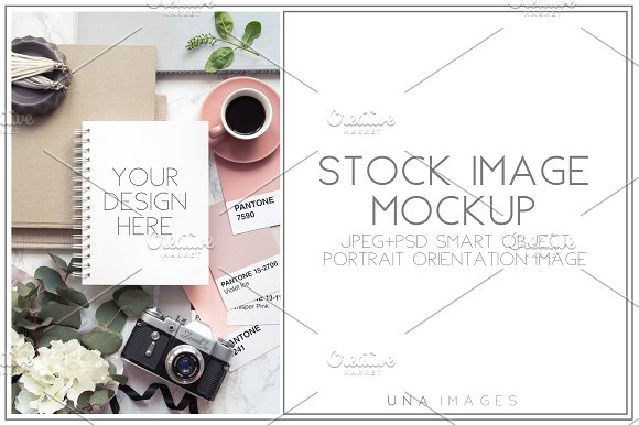 Download Notepad mockup with vintage camera.