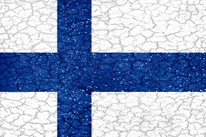 Finland Grunge Style National Flag