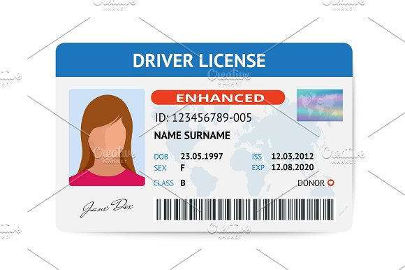 Flat Woman Driver License Plastic Card Template Id Card Vector Illustration
