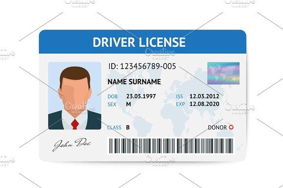 Flat Man Driver License Plastic Card Template Id Card Vector Illustration