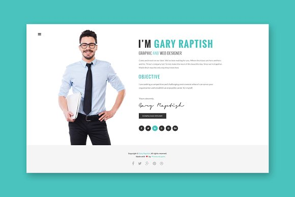 Raptish VCard HTML Template
