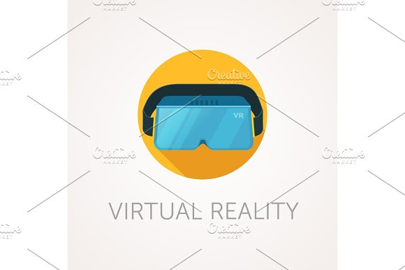 VR headset icon. Virtual reality glass. Flat style design.