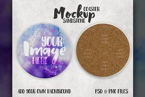 Round Sandstone Coaster Mockup