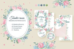 Tender Roses-Wedding Invitation Set