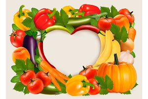 Vegetables and fruit. Vector
