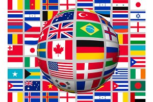 Globe on a background with flags