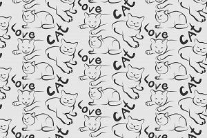 Love cat seamless pattern