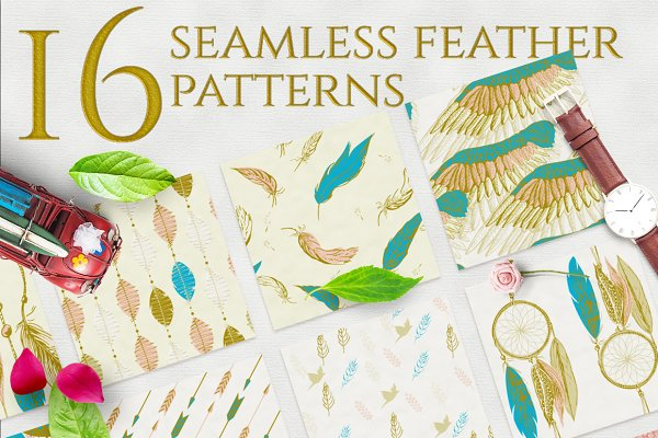 Romantic feather patterns