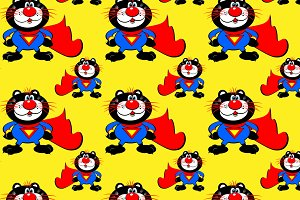 Cat superhero seamless pattern