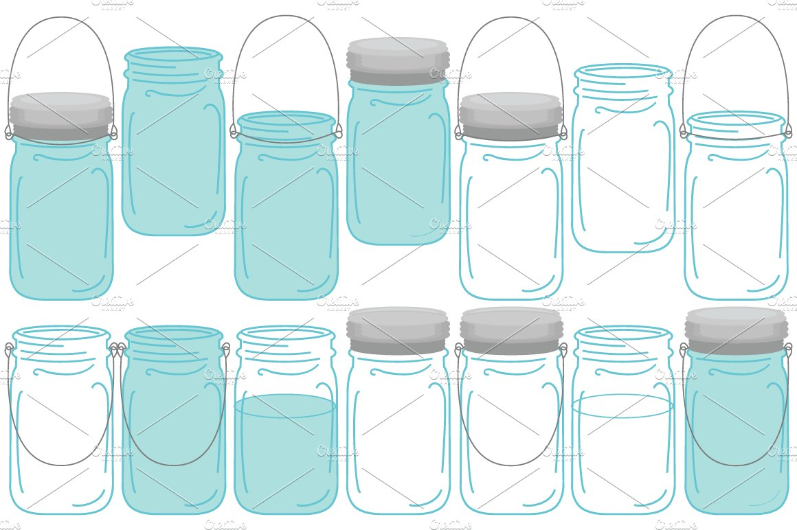 Vector Vintage Mason Ball Jars Set ~ Illustrations ...