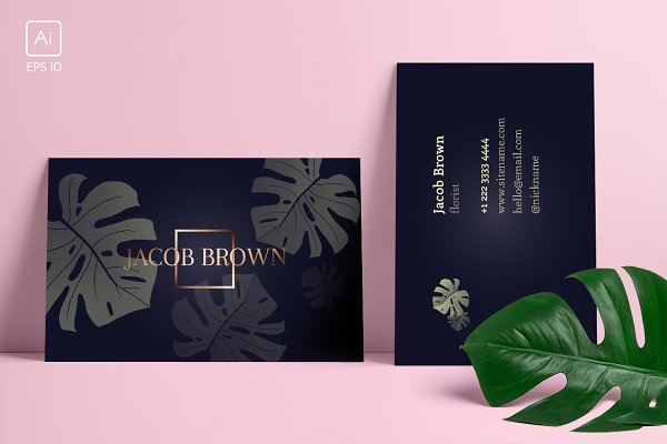 Business Card Templates: Radionova Anastasia - Men's business card with Monstera