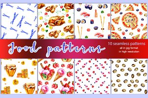 10 Watercolor food patterns