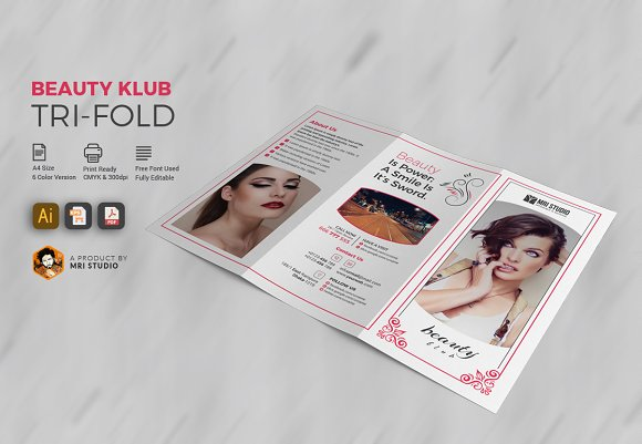 Beauty salon tri fold brochure templates creative market for Beauty brochure templates