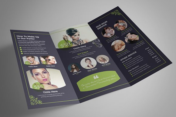 Beauty Salon Tri-Fold in Brochure Templates - product preview 5