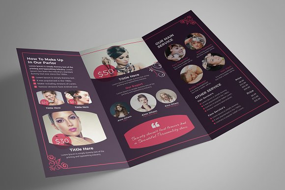 Beauty Salon Tri-Fold in Brochure Templates - product preview 6