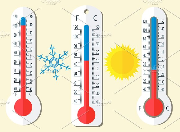 thermometer celsius and fahrenheit illustrations creative market