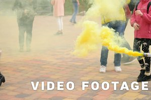 Festival of the colored smoke - slowmotion 180 fps