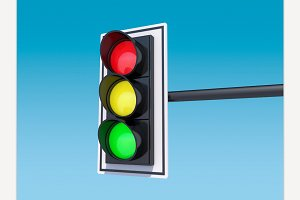 Isolated traffic light. 3D rendering