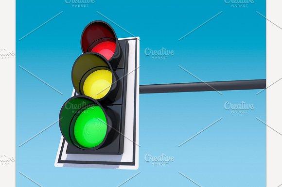 Isolated Traffic Light 3D Rendering