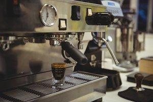 Close-up of coffee making machine